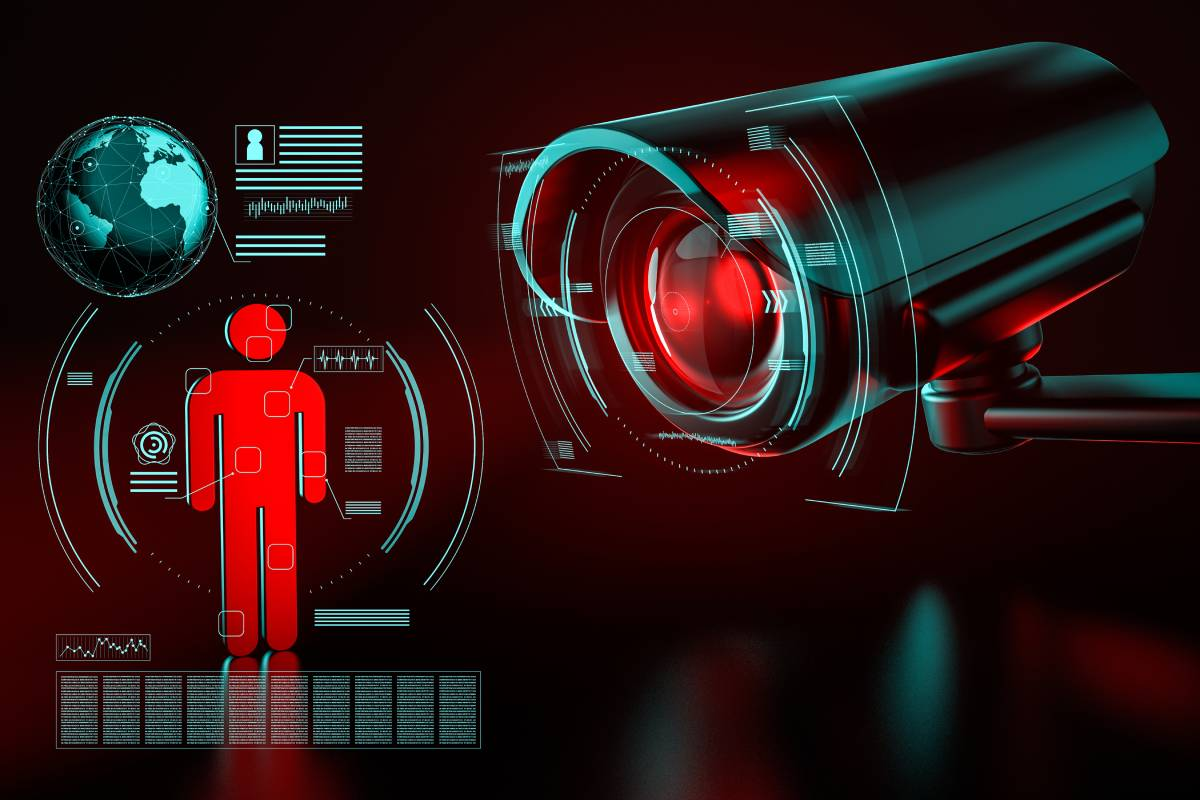 Surveillance security camera focused on human-icon metaphor data collection red black
